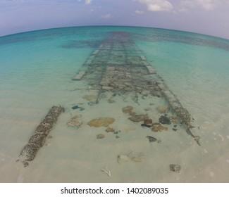 Abandoned Underwater Walkway Caribbean Beach