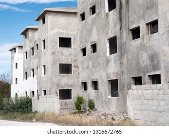 Abandoned and unfinished construction of typical caribbean building, nobody