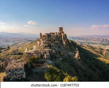The abandoned village of Craco, Basilicata region, Italy. Aerial view