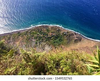 Abandoned village, at the edge of the Atlantic Ocean, captured from above. Achadas da Cruz.