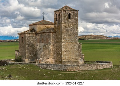 Abandoned village of Las Fuentes and church in the province of Segovia, an abandoned town in the middle of the 20th century in the center of Spain. Symbol of the depopulation of the center of Spain