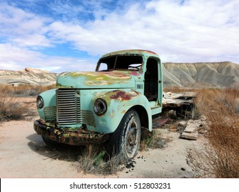 Abandoned vintage rusty truck in American desert