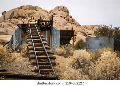 Abandoned Wall Street Mill used in the past for processing gold ore located in the Joshua Tree National Park in California USA.