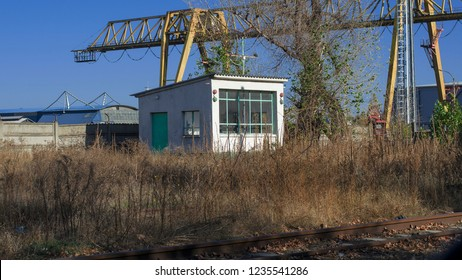 abandoned watchman's house in an industrial park