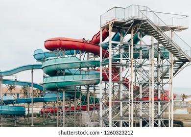 An abandoned water park toboggans