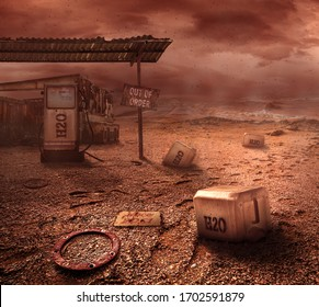 Abandoned water station on wasteland, world in 2050 year
