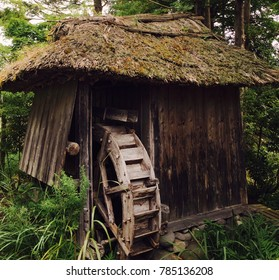 Abandoned water wheel found in Toyama Japan. Wonderful example of an old traditional Japanese water wheel, still with thatched roof intact. A critical part of Japan's preindustrial history.