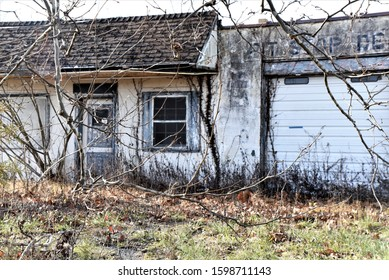Abandoned, weathered, empty, desolate, neglected, small business found along a state highway in the winter time, with dead grass and trees, with overgrown brush against a stark sky.