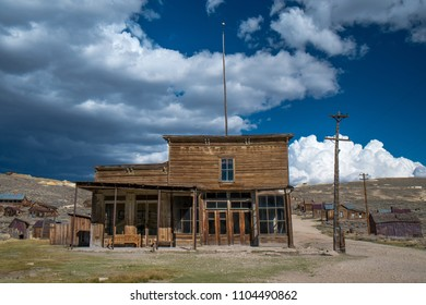 The abandoned Wheaton and Hollis Hotel in the ghost town of Bodie, California, USA.