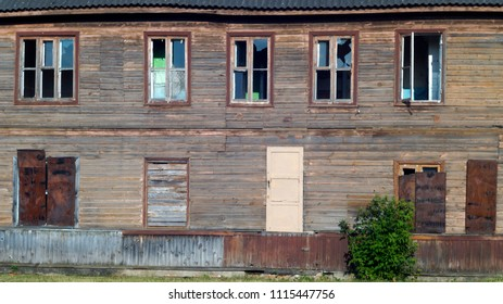 abandoned wooden barracks