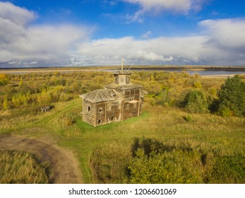 Abandoned wooden church in honor of St. Blasius. Russia, Arkhangelsk region, Vinogradovsky district, village Tulgas