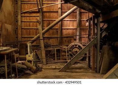 abandoned wooden factory