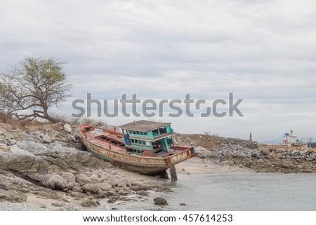 fc45ca0c55b310 Abandoned Wrecked Boat On Coast Nice Stock Photo (Edit Now ...