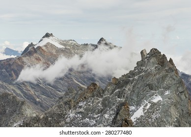 Abanico and Humboldt peaks at Sierra Nevada National Park in venezuelan Andes. Taken from Bolivar Peak, at almost 5000 meters above sea level (about 16.000 ft)