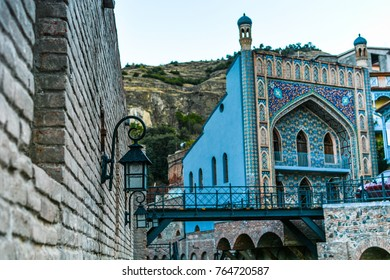 Abanotubani district of Tbilisi and its famous ancient sulfuric baths. Orbeliani baths