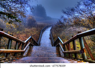 Abant, Bolu, Turkey - November 2014: Wooden walkway in abant.