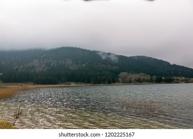 Abant Lake and nature park in winter but no snow.