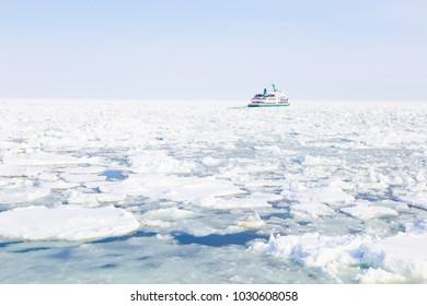 Abashiri Drift Ice with Tourist cruise on the Sea of Okhotsk, Hokkaido,Japan