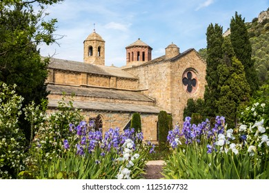 The Abbaye de Fontfroide, a former Cistercian monastery and abbey in Southern France, with a foregound of Iris germanica (bearded iris)
