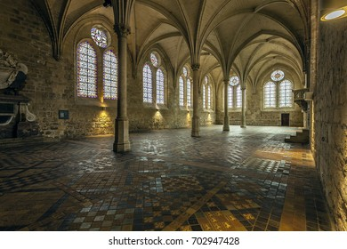 Abbaye de Royaumont, is an old Cistercian monastery located in the hamlet of Muzzle at Asnières-on-Oise in the Val-d'Oise, with approximately thirty kilometers north of Paris. FRANCE - August 2017