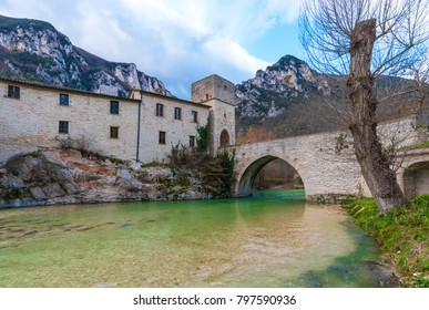 Abbazia di San Vittore alle Chiuse (Italy) - A medieval village in stone with catholic abbey in the municipal og Genga, Marche region, beside 'Grotte di Frasassi' caves