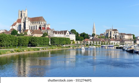 Abbey and churches in Auxerre at the river Yonne, capital of Burgundy in France, Europe
