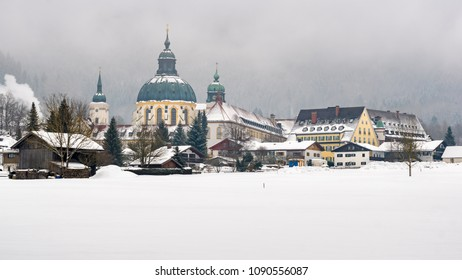 The Abbey of Ettal in a snow covered landscape