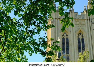 Abbey Gardens, Bury St Edmunds, UK - May 2019: Cathedral and gardens in English market town