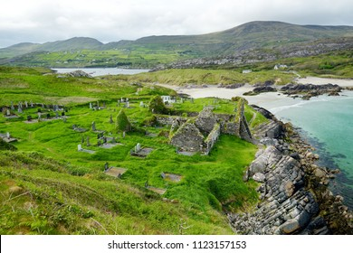 Abbey Island, the idyllic patch of land in Derrynane Historic Park, famous for ruins of Derrynane Abbey and cementery, located in County Kerry, Ireland