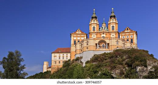 abbey melk at danube river / austria