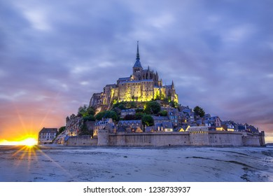 Abbey Mont Saint Michel at low tide , Normandy.