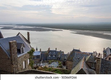 Abbey Mont Saint Michel at low tide Brittany, Basse, Normandy, France, Europe