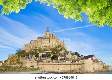 Abbey of Mont Saint Michel, at sunny summer day  Normandy, France