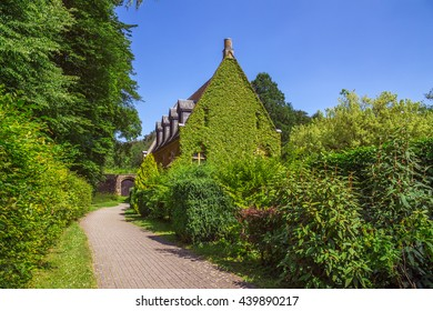 Abbey in Orval in belgium is famous for its trappist beer, botanical garden and ruins of former seat of monastery - nowadays accessible to tourists