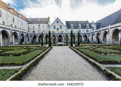 Abbey of Royaumont. Cloister. FRANCE - December 2016. The Abbey of Royaumont is a former Cistercian monastery located in Asnières-sur-Oise in Val-d'Oise.