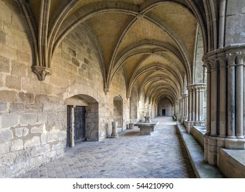 Abbey of Royaumont. Cloister Hallway. FRANCE - December 2016. The abbey of Royaumont is a former Cistercian monastery located in Asnières-sur-Oise in Val-d'Oise.