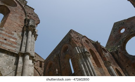 The Abbey of Saint Galgano. It was a Cistercian Monastery found in the valley of the river Merse between the towns of Chiusdino and Monticiano, in the province of Siena, region of Tuscany, Italy.