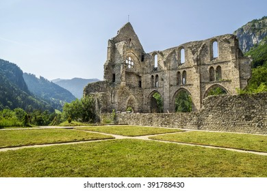 Abbey of Saint Jean d'Aulps , France - an area of two hectares with the remains of the abbey church , considered a jewel of Cistercian art , a medieval garden with medicinal plants and a museum.