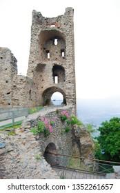 Abbey of Saint Michel of the Benedictine monks on Mount Pirchiriano near Turin city