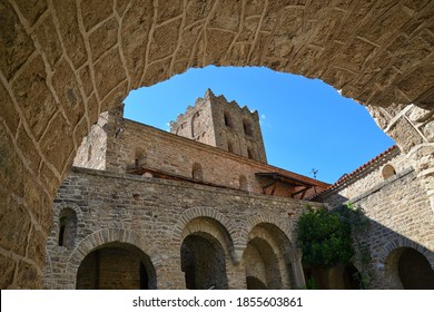 Abbey of Saint-Martin-du-Canigou, in the French Pyrenees. View from the cloisters