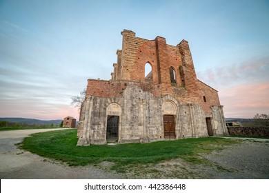Abbey of San Galgano from 13th century, near Siena, Tuscany, Italy
