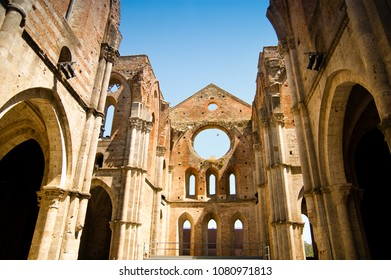 Abbey of San Galgano, a church without a roof, in Toscany, Italy.