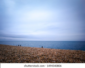 Abbotsbury, Dorset / England - July 7, 2019: The popular Chesil beach near the town of Abbotsbury in Dorset, England