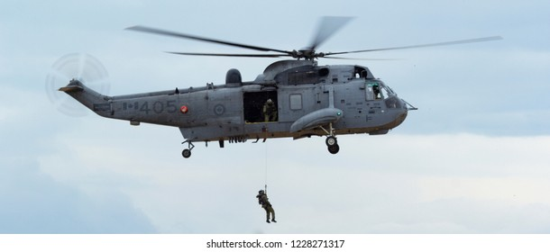 ABBOTSFORD, BC - Aug 11, 2018 A Canadian Forces Seaking Helicopter performs one of the last public appearances of the Seaking Helicopter before its retirement