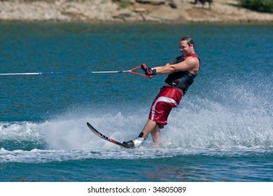 ABBOTSFORD, BC - AUGUST 3: Jason Matthews from the Calgary Fire Dept competes in the men's intermediate slalom waterskiing at the World Police and Fire games August 3, 2009 in Abbotsford, BC.