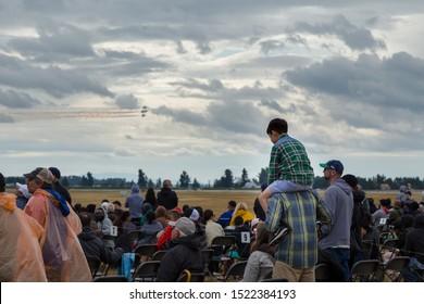 ABBOTSFORD, BC, CANADA - AUG 11, 2019: Spectators at the Abbotsford International Airshow.