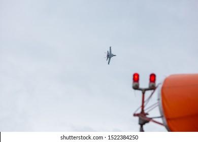 ABBOTSFORD, BC, CANADA - AUG 11, 2019: The RCAF CF-18 performing aerobatic maneuvers at the Abbotsford International Airshow.