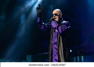 Abbotsford, BC / Canada - June 17th 2019: Singer Rob Halford of Judas Priest performing at Abbotsford Centre