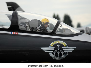 ABBOTSFORD, CANADA - AUGUST 8, 2015: Breitling Jet Team take part in Abbotsford International Air Show on Aug. 8, 2015 in Abbotsford, Canada.