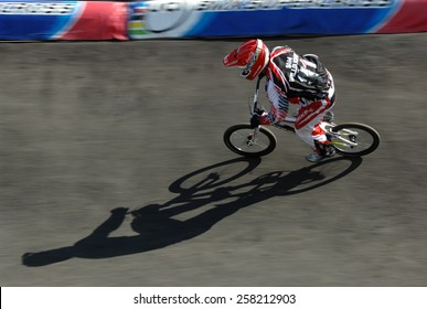 ABBOTSFORD, CANADA - SEPTEMBER 14, 2012: Riders compete at the UCI BMX Supercross World Cup 2012 in Abbotsford, Canada, on September 14, 2012.